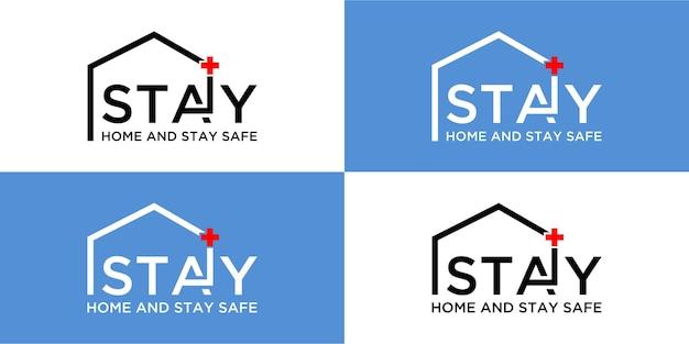Quédese en casa y manténgase seguro concepto de diseño