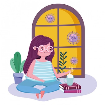 Quédese en casa, mujer joven con una taza de café en los libros de la habitación, cuarentena, covid 19