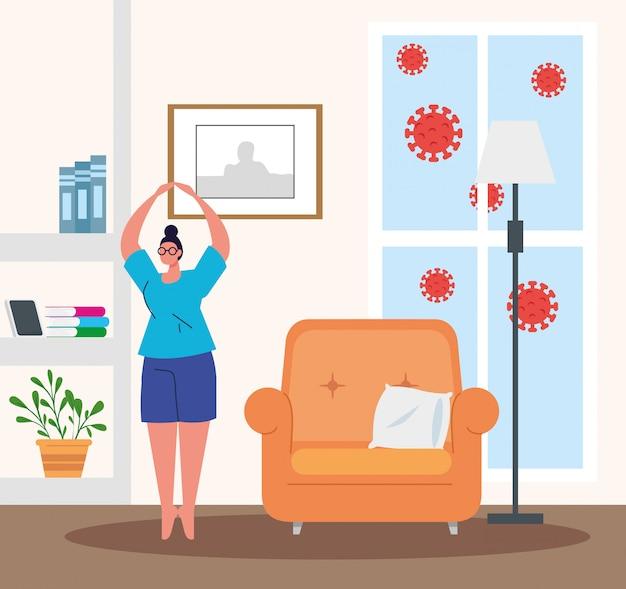 Quédese en casa, mujer practicando ejercicio, cuarentena o autoaislamiento