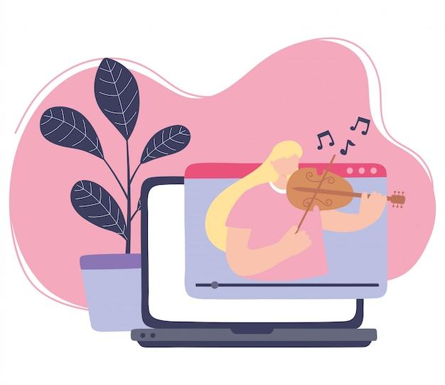 Quédese en casa, niña tocando un concierto en línea de violín, autoaislamiento, actividades en cuarentena por coronavirus