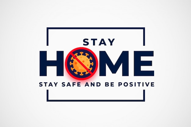 Quédese en casa y pare el diseño de fondo del coronavirus