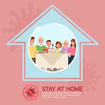 Quédese en casa, pare el diseño de personajes del concepto de coronavirus