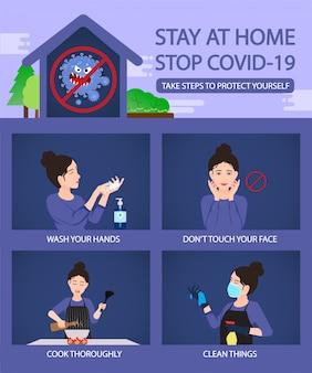 Quédese en casa pare la infografía del concepto covid-19 con la medida segura y limpia