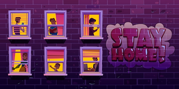 Quédese en casa, personas en ventanas durante el coronavirus