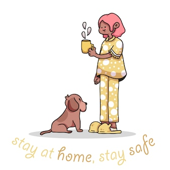 Quédese en casa, quédese segura, niña, café, covid-19, brote, ilustración