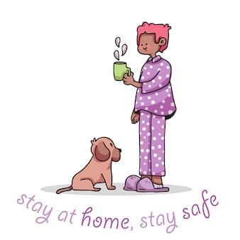 Quédese en casa, quédese seguro, muchacho, con, café, covid-19