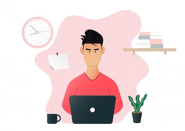 Quédese en casa trabajando desde casa. quédate en casa, mantente a salvo. quédese en casa en cuarentena durante el coronavirus. ilustración.