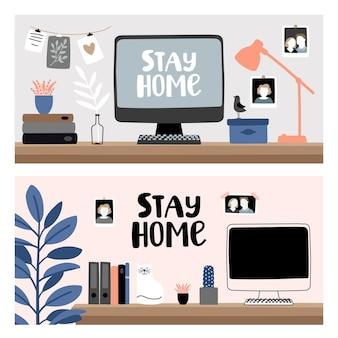 Quédese y trabaje en casa. escritorio de computadora con laptop para oficina en casa
