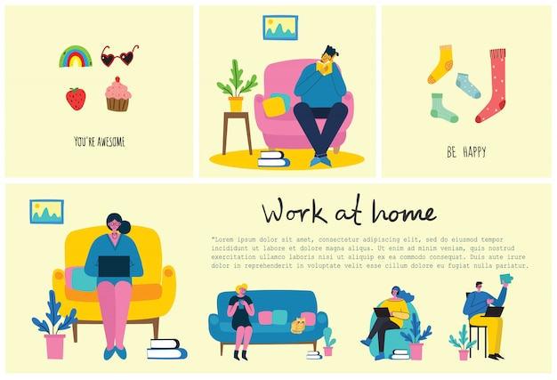 Quédese y trabaje en casa. personas que se quedan en casa para prevenir el virus covid19 en el estilo plano