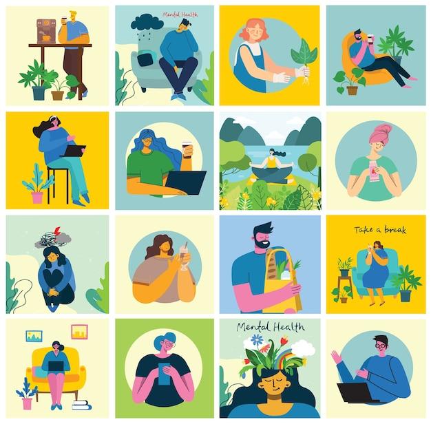 Quédese y trabaje en casa. personas que se quedan en casa realizando diferentes actividades: sentarse en el sofá, saltar, trabajar, celebrar, jugar, hacer deporte, leer en casa. colorido collage de ilustración moderna en estilo plano.