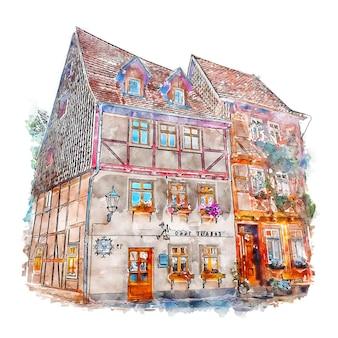 Quedlinburg alemania boceto acuarela dibujado a mano ilustración