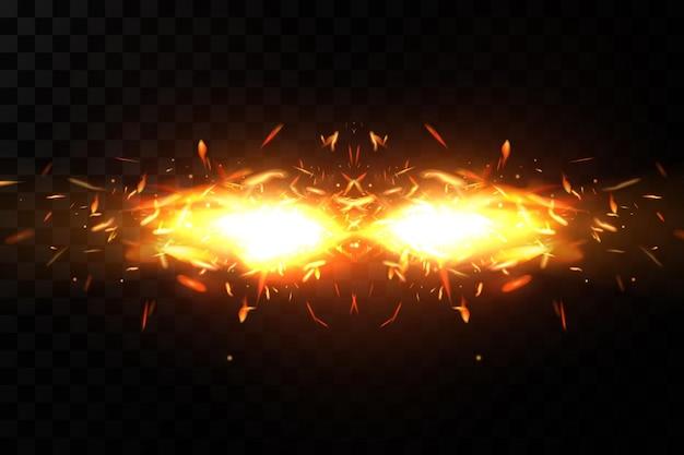 Quema de chispas de fuego sobre fondo transparente