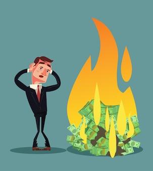 Quema de dinero. carácter de empresario en quiebra. ilustración de dibujos animados plana