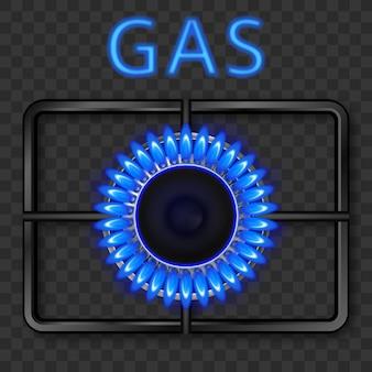 Quemador de gas con llama azul y rejilla de acero negra.