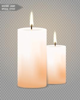 Quemando velas. fuego. fiesta. luces de navidad aisladas sobre fondo transparente. ilustración