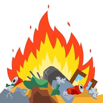 Quemar basura en el vertedero. emisiones nocivas daño ambiental. vector plano