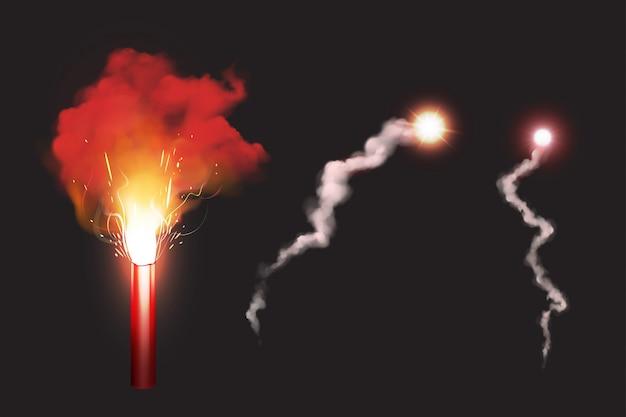 Quemar bengala roja, señal de fuego sos para emergencia