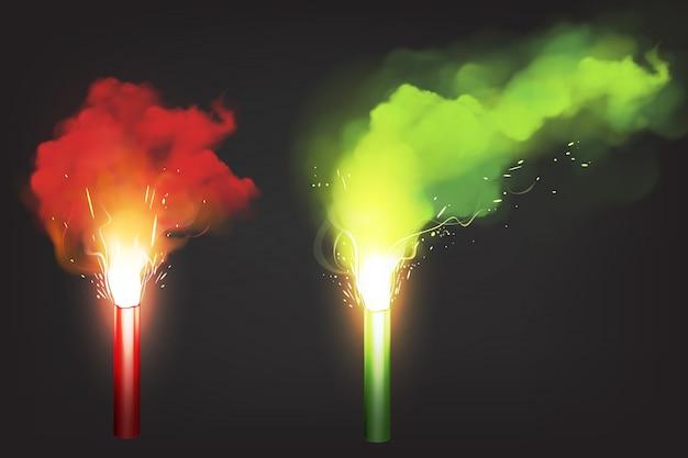 Quemar bengalas rojas y verdes, luz de señal de emergencia