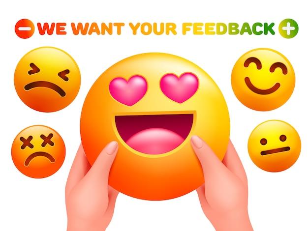 Queremos sus comentarios. etiqueta engomada del personaje emoji en manos humanas. estilo de dibujos animados en 3d.
