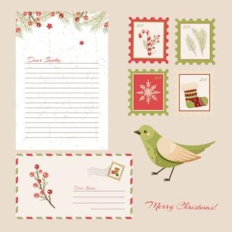 Querida carta de santa claus. postal con sellos y marca.