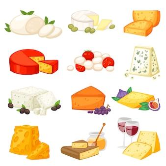Queso comida y productos lácteos con queso ilustración conjunto de aperitivo suizo mozzarella o queso cheddar para el desayuno