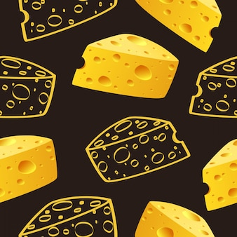 Queso y doodle patrón de queso vector inconsútil