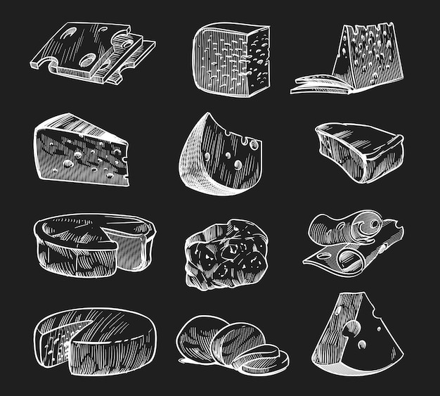 Queso elaborado a mano. bosquejo de pizarra varios tipos de quesos maasdam y gouda, mozzarella y parmesano, productos lácteos ecológicos de granja fresca, sabrosas rebanadas y piezas de alimentos estilo grabado vector aislado conjunto