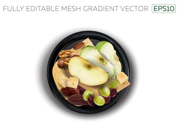 Queso con frutos secos y frutas variadas en una placa negra.