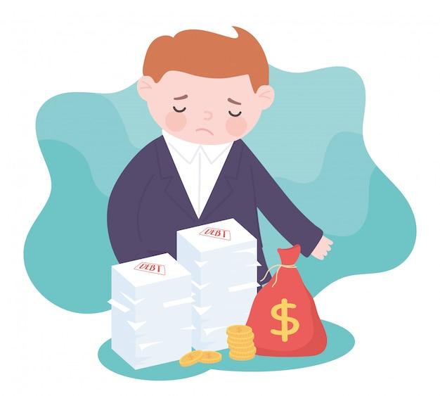 Quiebra triste empresario bolsa dinero monedas y deuda apilada crisis financiera empresarial