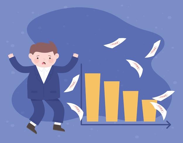 Quiebra triste empresario gráfico financiero empresarial y crisis de papeles de deuda