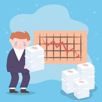 Quiebra triste empresario pila de papeles de deuda y diagrama flecha hacia abajo crisis financiera empresarial