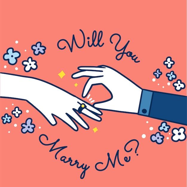 ¿quieres casarte conmigo ilustración de doodle