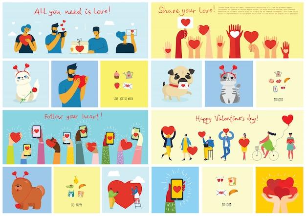 Los quiero mucho. valentine dibujado a mano doodle prefabricado logo en estilo de dibujos animados y diseño plano.