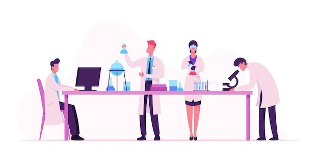 Química, concepto farmacéutico. ilustración plana de dibujos animados