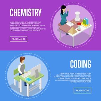 Química e informática estudiando en el conjunto de web de banner de la escuela
