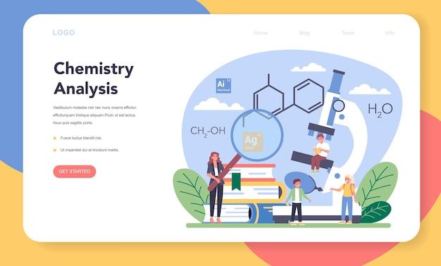 Química estudiando banner web o página de destino. lección de química. experimento científico en el laboratorio con equipo químico.