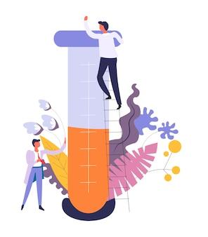 Química y experimentos de laboratorio de científicos aislados.
