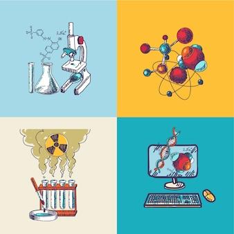 Química icono boceto composición