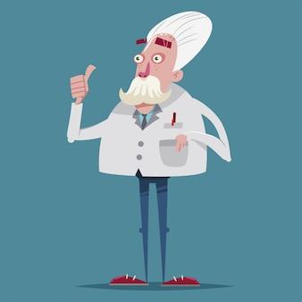 Químico científico divertido en un traje de laboratorio. personaje de dibujos animados de vector de un viejo profesor.