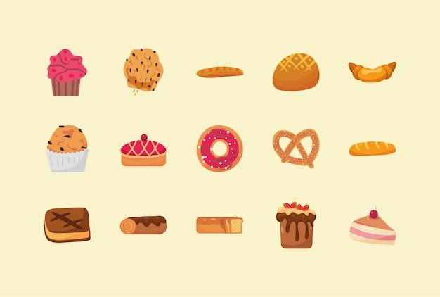 Quince elementos de panadería.