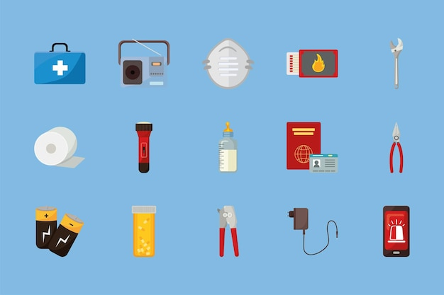 Quince iconos de kit de emergencia