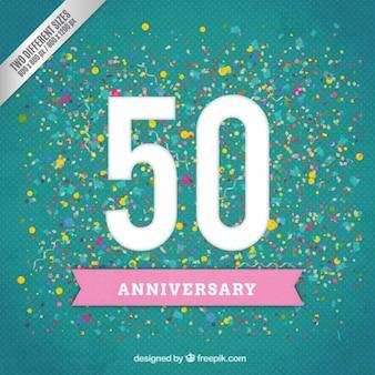 Quincuagésimo aniversario en un fondo de confeti