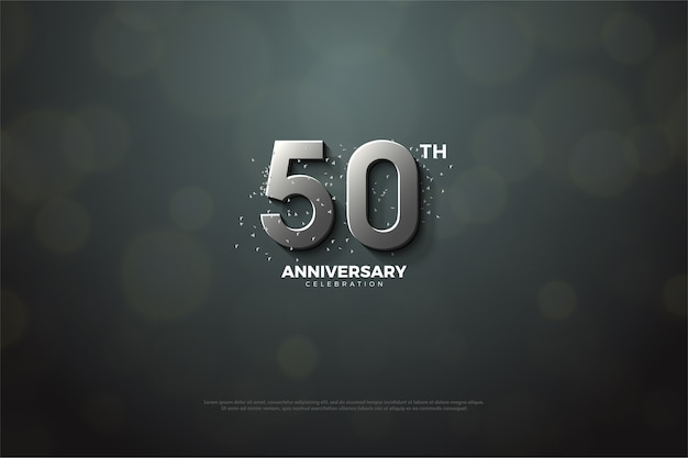 Quincuagésimo aniversario con números plateados