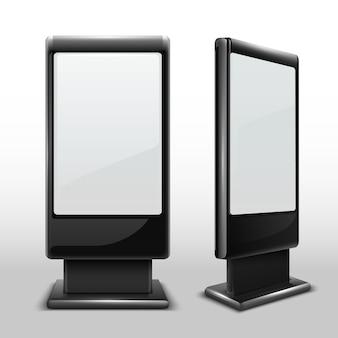 Quiosco al aire libre interactivo en blanco. pantalla táctil derecha de la tv de digitaces aislada. exhibir el soporte del quiosco, ilustración de la pantalla táctil de publicidad en blanco