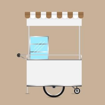 Quiosco en blanco para carrito de ruedas para diseño de mercado y exterior.