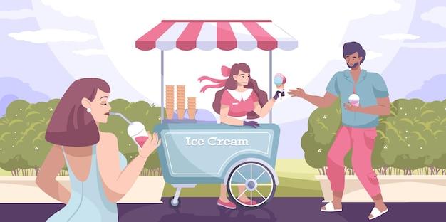 Quiosco de composición plana de la calle de helados en el parque y el chico compra un helado