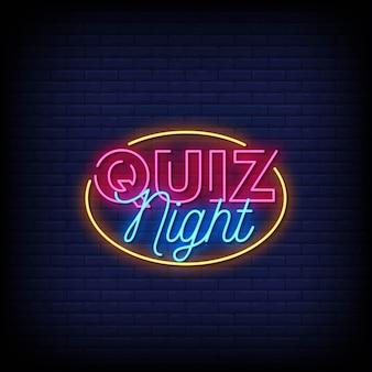 Quiz night logo letreros de neón estilo texto