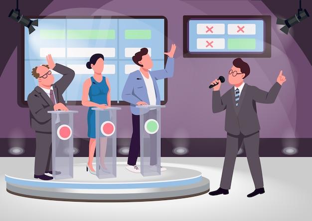 Quiz show ilustración de vector de color plano. anfitrión del juego educativo y contendientes personajes de dibujos animados en 2d con escenario en el fondo.
