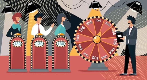 Quiz show man game host cartoon people concursante