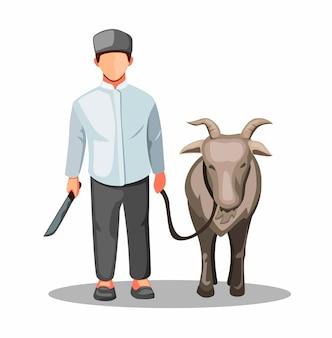 Qurban idul adha. hombre musulmán con sacrificio de cabra por la tradición en eid mubarak en ilustración de dibujos animados en blanco